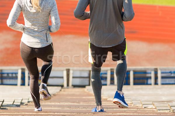 çift çalışma stadyum uygunluk spor Stok fotoğraf © dolgachov