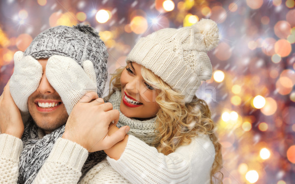 Szczęśliwą rodzinę para zimą ubrania ludzi Zdjęcia stock © dolgachov