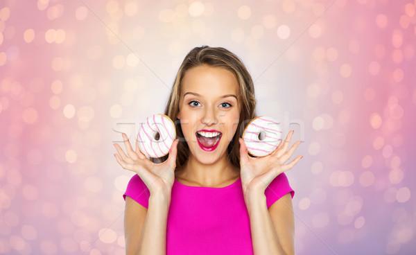 Feliz mulher menina adolescente pessoas férias Foto stock © dolgachov