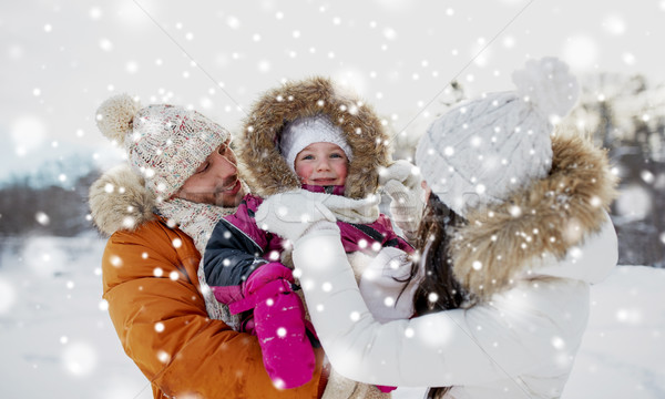 happy family with child in winter clothes outdoors Stock photo © dolgachov