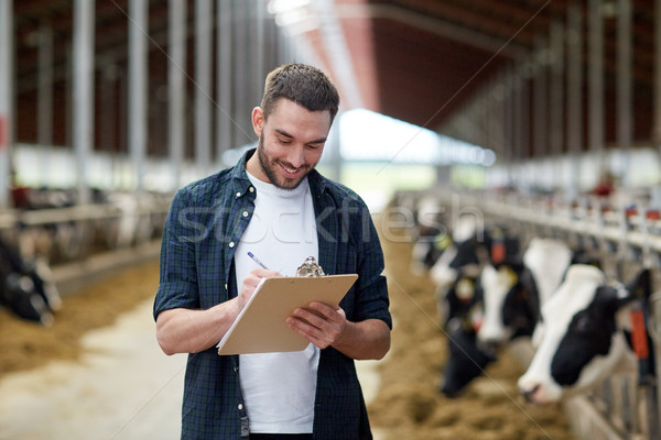 farmer with clipboard and cows in cowshed on farm Stock photo © dolgachov