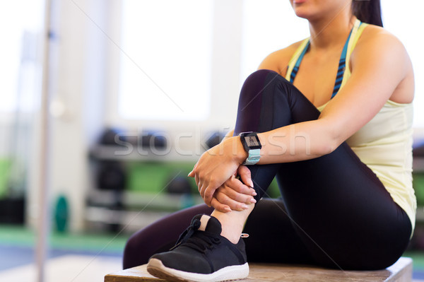 close up of woman with heart rate tracker in gym Stock photo © dolgachov
