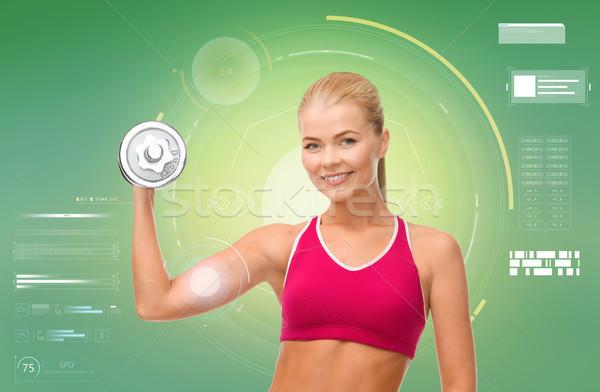 ストックフォト: 幸せ · スポーティー · 女性 · ダンベル · 上腕二頭筋 · スポーツ