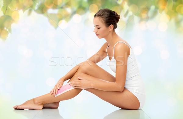 Vrouw been haren wax schoonheid verwijdering Stockfoto © dolgachov