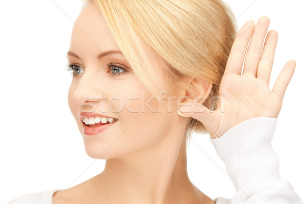 Femme écouter potins lumineuses photos jeune femme Photo stock © dolgachov