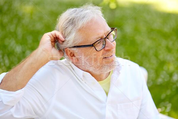 Gelukkig senior man bril vergadering zomer Stockfoto © dolgachov