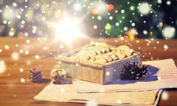 Christmas owies cookie drewniany stół wakacje Zdjęcia stock © dolgachov
