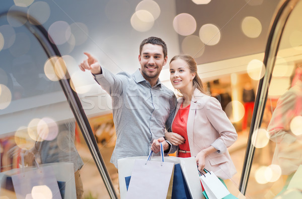 Mutlu alışveriş merkezi satış Stok fotoğraf © dolgachov