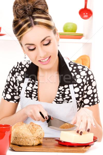 Stok fotoğraf: Ev · kadını · resim · güzel · bir · kadın · mutfak · kadın · kız