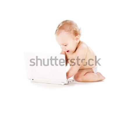 baby boy with laptop computer Stock photo © dolgachov