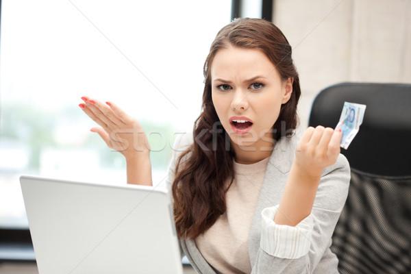 Foto stock: Infeliz · mulher · computador · portátil · euro · numerário · dinheiro