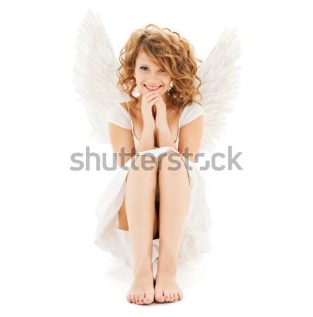 ランジェリー 天使 ディスコボール 少女 雪 女性 ストックフォト © dolgachov