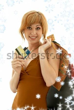 Consumatore ragazza bella carte di credito faccia Foto d'archivio © dolgachov