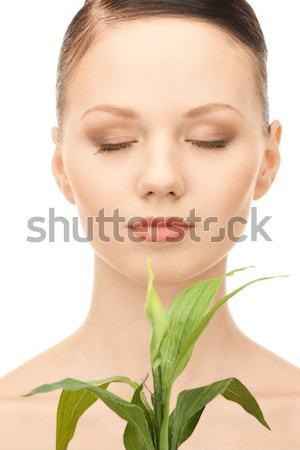 Kaktusz játékok közelkép portré gyönyörű nő harap Stock fotó © dolgachov