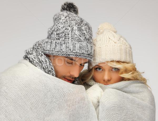 Família casal quente cobertor brilhante quadro Foto stock © dolgachov