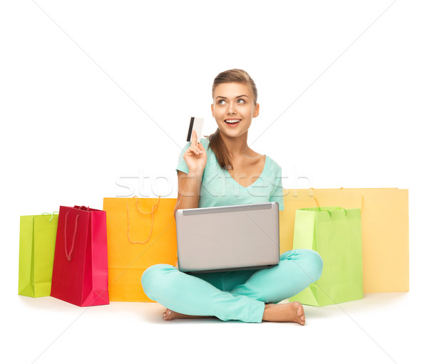 женщину ноутбука кредитных карт компьютер Сток-фото © dolgachov