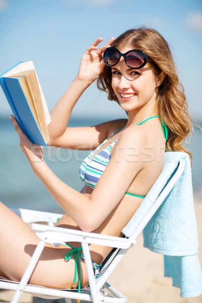 Foto stock: Menina · leitura · livro · verão · férias
