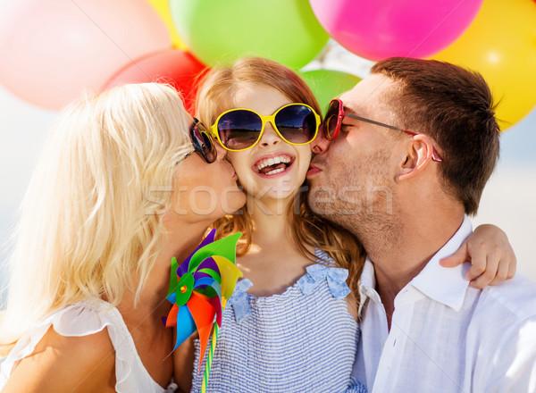 Zdjęcia stock: Rodziny · kolorowy · balony · lata · wakacje · uroczystości