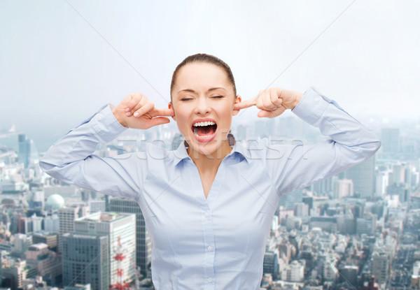 Enojado gritando mujer de negocios negocios oficina estrés Foto stock © dolgachov