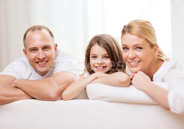 Mosolyog szülők kislány otthon család gyermek Stock fotó © dolgachov