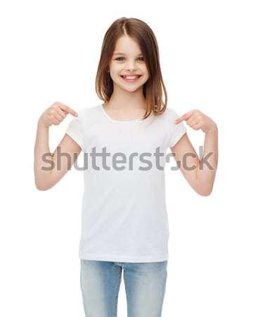 Zdjęcia stock: Dziewczynka · biały · tshirt · projektu · szczęśliwych · ludzi