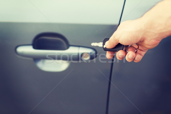 man with car key outside Stock photo © dolgachov