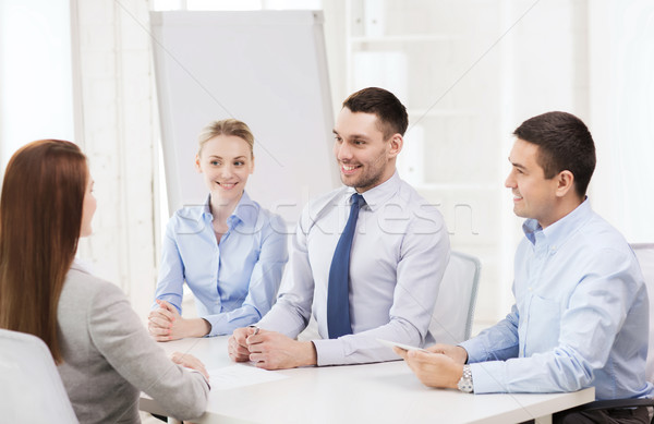 business team interviewing applicant in office Stock photo © dolgachov