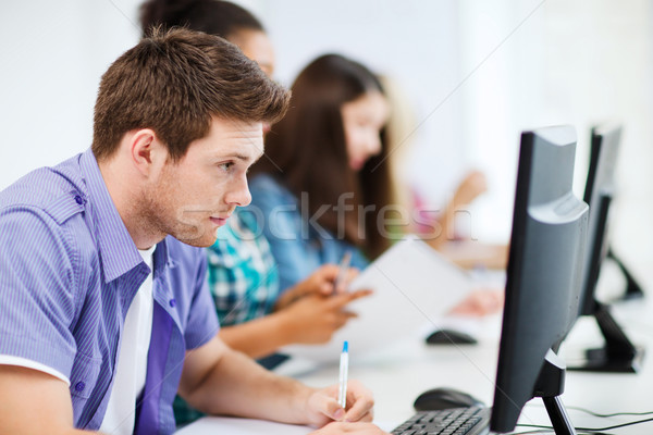 Stock photo: student with computer studying at school