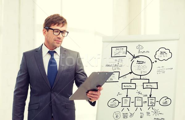 üzletember vágólap tábla üzlet iroda iskola Stock fotó © dolgachov