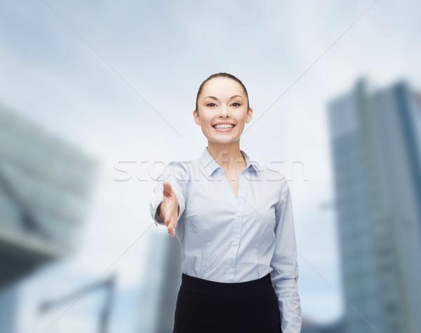 деловая женщина стороны готовый рукопожатие бизнеса Сток-фото © dolgachov