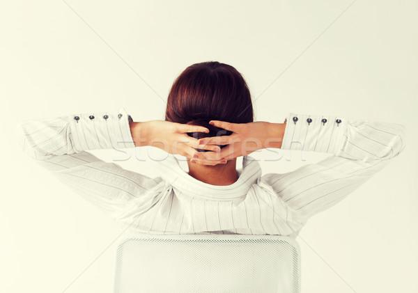 женщину назад оружия голову бизнеса Сток-фото © dolgachov