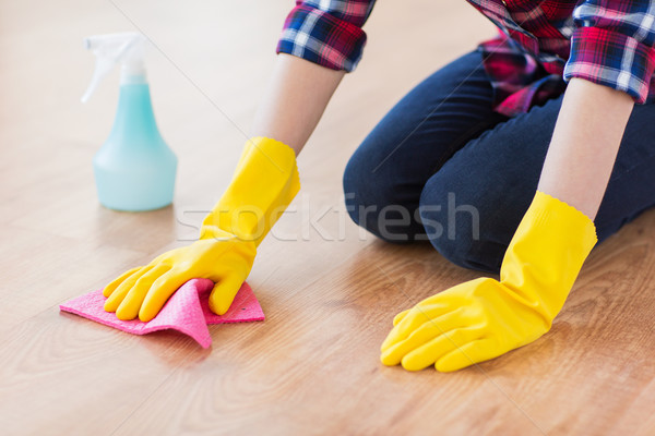 Mulher trapo limpeza piso casa Foto stock © dolgachov