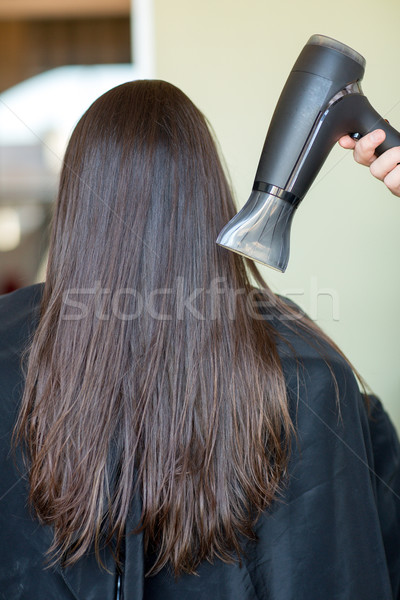 stylist hand with fan dries woman hair at salon Stock photo © dolgachov