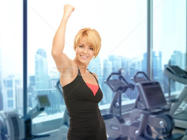 Felice donna fitness istruttore palestra persone Foto d'archivio © dolgachov