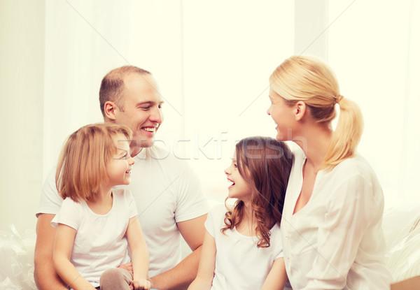 Mosolyog család kettő kislányok otthon gyerekek Stock fotó © dolgachov