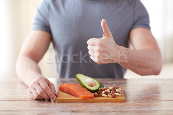 close up of male hands with food rich in protein Stock photo © dolgachov