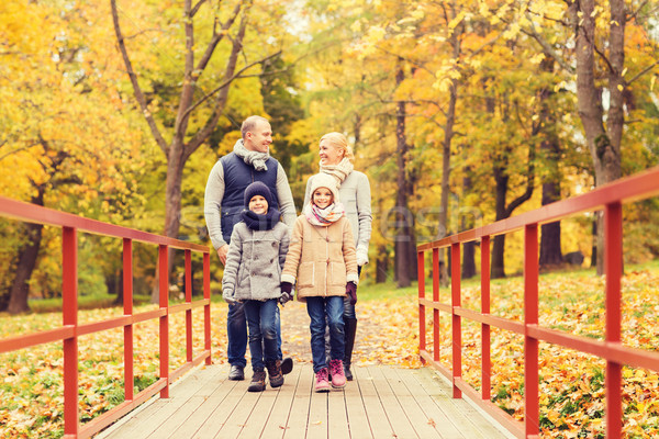 счастливая семья осень парка семьи детство сезон Сток-фото © dolgachov