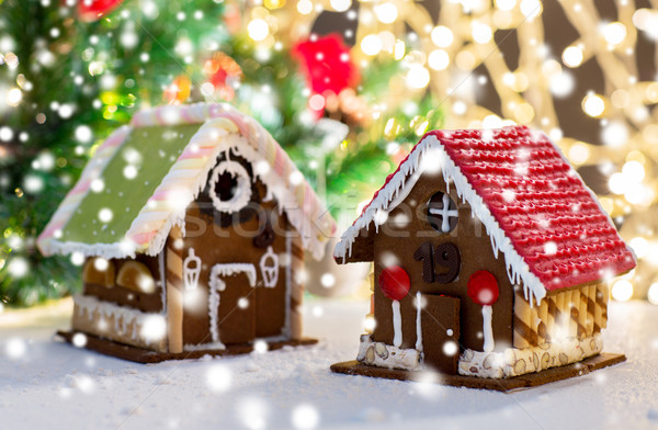 closeup of beautiful gingerbread house at home Stock photo © dolgachov