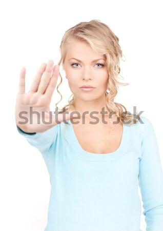 lovely girl showing stop sign Stock photo © dolgachov