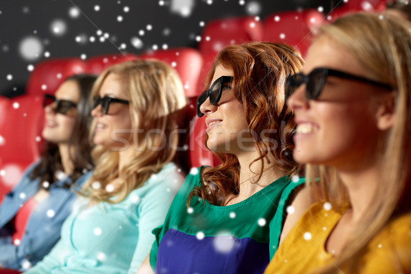happy female friends watching movie in 3d theater Stock photo © dolgachov