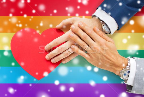 男性 ゲイ カップル 手 赤 ストックフォト © dolgachov