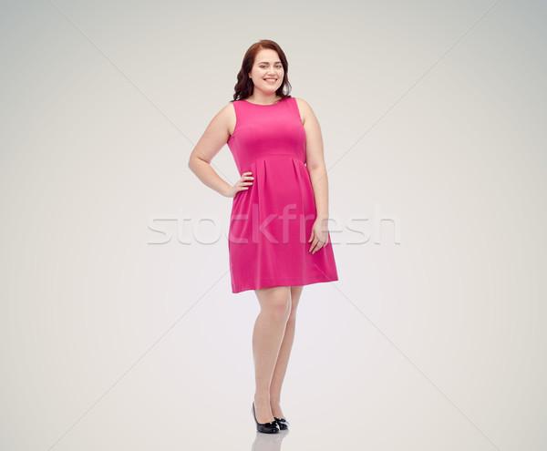 ストックフォト: 幸せ · 小さな · プラスサイズ · 女性 · ポーズ · ピンク