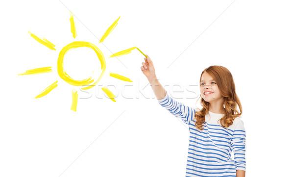 Lány rajz nagy nap levegő oktatás Stock fotó © dolgachov