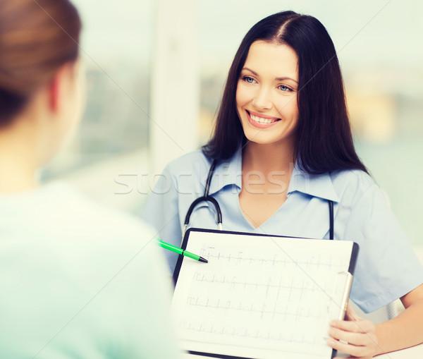Női orvos nővér mutat kardiogram egészségügy Stock fotó © dolgachov