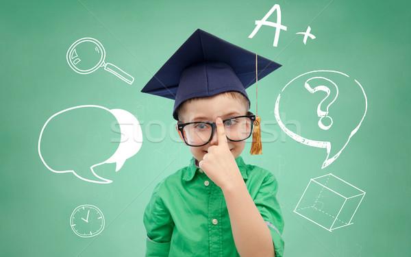 мальчика бакалавр Hat очки доске детство Сток-фото © dolgachov