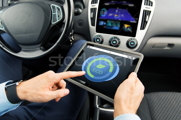 close up of man with tablet pc in car Foto stock © dolgachov