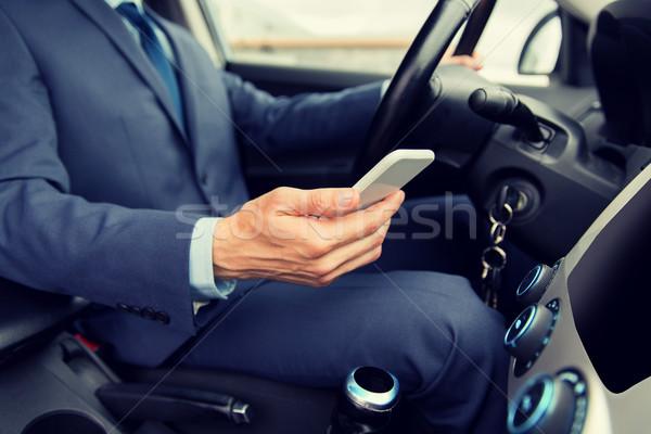 男 スマートフォン 運転 車 輸送 ストックフォト © dolgachov