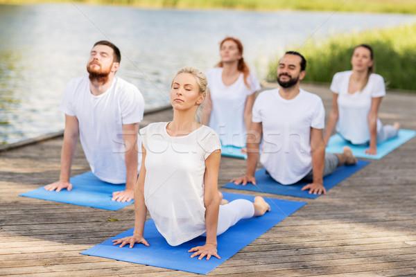 group of people making yoga exercises outdoors Stock photo © dolgachov