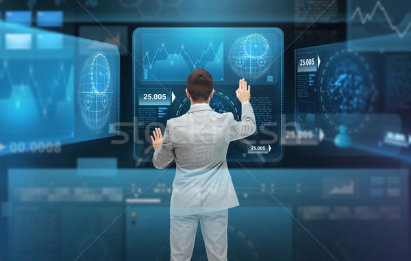 Zakenman werken virtueel zakenlieden technologie cyberspace Stockfoto © dolgachov