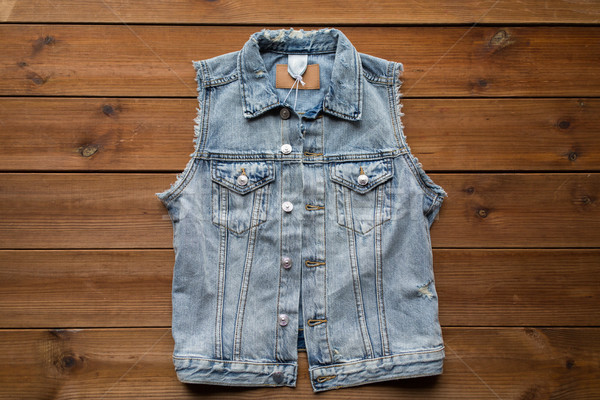 Denim gilet gilet bois vêtements vêtements Photo stock © dolgachov